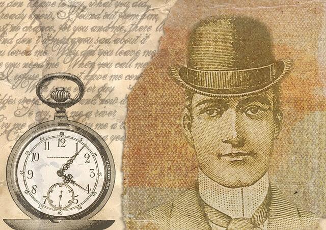 Ilustracja męzczyzny w meloniku, obok zegar, w stylu vintage
