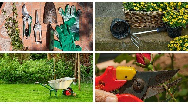 Kolaż ze zdjęć z ogrodami i narzędziami ogrodowymi