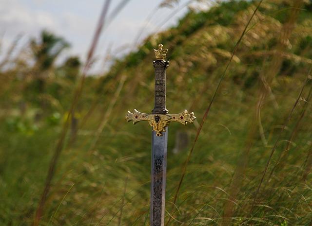 miecz wśród trawy